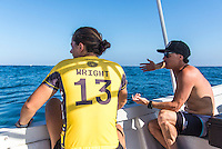 Namotu Island Resort, Nadi, Fiji (Sunday, May 29 2016):  Coach Glen Hall (AUS) and Tyler Wright (AUS) - The  2016 Fiji Women's Pro commenced at 8 am this morning in clean 3'-4' waves at Cloudbreak. Round One was completed in near perfect conditions with just a slight offshore wind before the contest was called off for the day. Photo: joliphotos.com
