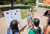 Caroline Riley '20, The Children's Law Center<br /> 2018 InternLA student participants share their poster presentations about their summer experiences working as interns in Los Angeles. Summer Experience Expo, Sept. 13, 2018 in the Academic Quad. Hosted by Career Services.<br /> (Photo by Marc Campos, Occidental College Photographer)