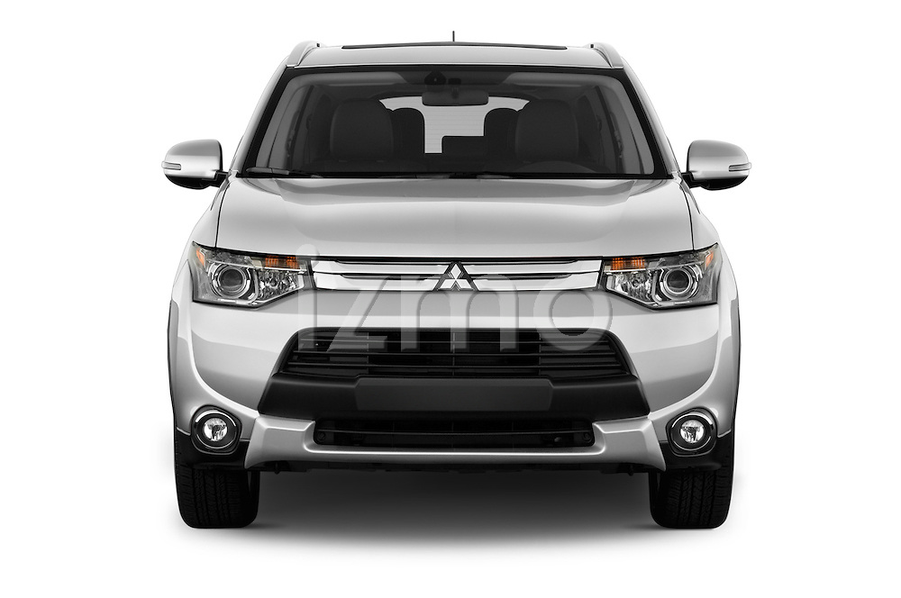Car photography straight front view of a 2015 Mitsubishi Outlander GT 4WD 5 Door SUV Front View