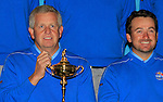 Captain Colin Montgomerie and Graham McDowell at the European Team pictures in the caddy car shed during Practice Day 2 at the 2010 Ryder Cup at the Celtic Manor Twenty Ten Course, Newport, Wales, 29th September 2010..(Picture Eoin Clarke/www.golffile.ie)
