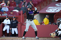 Austin Masel (9) of the Holy Cross Crusaders at bat against the South Carolina Gamecocks at Founders Park on February 15, 2020 in Columbia, South Carolina. The Gamecocks defeated the Crusaders 9-4.  (Brian Westerholt/Four Seam Images)