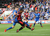 30th September 2017, Vitality Stadium, Bournemouth, England; EPL Premier League football, Bournemouth versus Leicester; Jermain Defoe of Bournemouth forces a save from Leicester Goalkeeper Kasper Schmeichel, with Andy King of Leicester putting in a late challenge