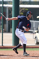 David Murphy of the Cleveland Indians bats during a Minor League Spring Training Game against the Cincinnati Reds at the Cincinnati Reds Spring Training Complex on March 25, 2014 in Goodyear, Arizona. (Larry Goren/Four Seam Images)
