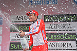 Alexander Krisoff (NOR) Katusha sprays the bubbly after winning the rain soaked 294km 105th Milano-Sanremo 2014, Sanremo, Italy. 23rd March 2014.     <br /> Photo: Gian Mattia D'Alberto/LaPresse/www.newsfile.ie