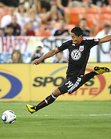 Andy Najar #14 of D.C. United winds up for a shot during an MLS match against the Houston Dynamo at RFK Stadium in Washington D.C. on September  25 2010. Houston won 3-1.