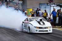 Jul. 19, 2013; Morrison, CO, USA: NHRA pro stock driver Shane Gray during qualifying for the Mile High Nationals at Bandimere Speedway. Mandatory Credit: Mark J. Rebilas-