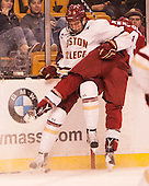 Ian McCoshen (BC - 3), Alexander Kerfoot (Harvard - 14) - The Boston College Eagles defeated the Harvard University Crimson 3-2 in the opening round of the Beanpot on Monday, February 1, 2016, at TD Garden in Boston, Massachusetts.