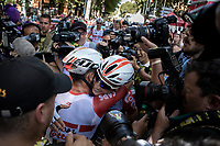 stage winner Caleb Ewan (AUS/Lotto Soudal) congratulated by teammate Jens Keukeleire (BEL/Lotto Soudal)<br /> <br /> Stage 11: Albi to Toulouse (167km)<br /> 106th Tour de France 2019 (2.UWT)<br /> <br /> ©kramon