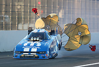 Feb 8, 2020; Pomona, CA, USA; NHRA funny car driver Matt Hagan during qualifying for the Winternationals at Auto Club Raceway at Pomona. Mandatory Credit: Mark J. Rebilas-USA TODAY Sports