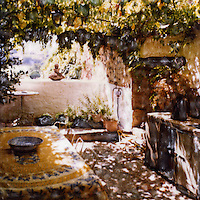 Outdoor dining at its finest in old world style villa. Families enjoy privacy, shade from the grape arbor and endless charm.<br /> <br /> -Limited Edition of 50 Prints