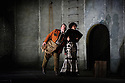 """English Touring Opera presents """"Don Giovanni"""", by Wolfgang Amadeus Mozart, at the Hackney Empire.  Directed by Lloyd Wood, with set & costume design by Anna Fleischle and lighting design by Guy Hoare. Picture shows:  Matthew Stiff (Leporello), Ania Jeruc (Donna Elvira)."""