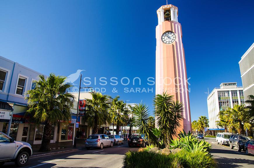 Pink art deco clock tower,  Gisborne CBD.  North Island New Zealand