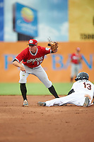 Carolina Mudcats shortstop Reed Harper (17) after tagging Jay Gonzalez (13) sliding into second base during a game against the Frederick Keys on June 4, 2016 at Nymeo Field at Harry Grove Stadium in Frederick, Maryland.  Frederick defeated Carolina 5-4 in eleven innings.  (Mike Janes/Four Seam Images)