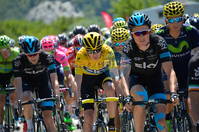 Race leader Christopher Froome (GBR) protected by his Team Sky companions as they head for Col de la Croix de Fer during Stage 20 of the 2015 Tour de France running 110.5km from Modane Valfrejus to Alpe d'Huez, France. 25th July 2015.<br /> Photo: ASO/B.Bade/Newsfile
