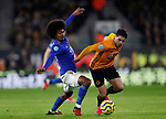 Pedro Neto of Wolverhampton Wanderers tackled by Hamza Chodhury of Leicester City during the Premier League match at Molineux, Wolverhampton. Picture date: 14th February 2020. Picture credit should read: Darren Staples/Sportimage
