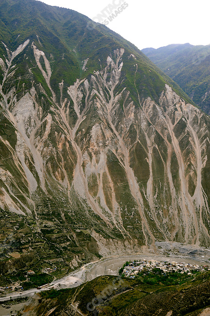 Mountain scene after the 2008 Wenchuan Earthquake, Yanmen Township, Wenchuan County, Sichuan Province, China, September 5, 2009.