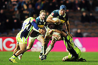 James Horwill of Harlequins takes on the Sale Sharks defence. Anglo-Welsh Cup match, between Harlequins and Sale Sharks on February 3, 2017 at the Twickenham Stoop in London, England. Photo by: Patrick Khachfe / JMP