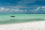 The pristine aqua waters of the lagoon on the island of Kiritimati, Kiribati