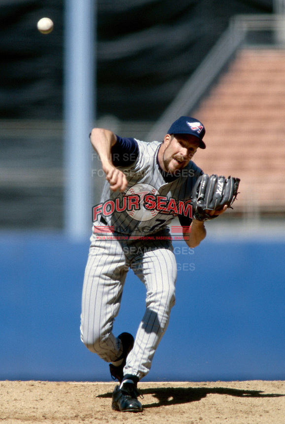 Jack McDowell of the Anaheim Angels participates in a Major League Baseball game at Dodger Stadium during the 1998 season in Los Angeles, California. (Larry Goren/Four Seam Images)