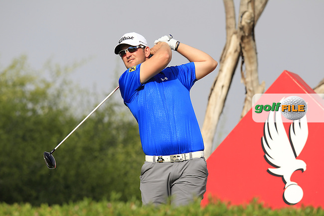Bernd Wiesberger (AUT) tees off the 11th tee during Sunday's Final Round of the Abu Dhabi HSBC Golf Championship 2015 held at the Abu Dhabi Golf Course, United Arab Emirates. 18th January 2015.<br /> Picture: Eoin Clarke www.golffile.ie