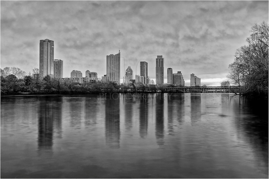 Taken before sunrise from the shores of Lady Bird Lake, this view looks across downtown Austin and the Austin skyline.