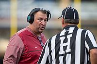 Hawgs Illustrated/BEN GOFF <br /> Bret Bielema, Arkansas head coach, talks to an official in the second quarter against Coastal Carolina Saturday, Nov. 4, 2017, at Reynolds Razorback Stadium in Fayetteville.