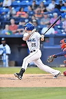 Asheville Tourists designated hitter Taylor Snyder (28) swings at a pitch during a game against the Rome Braves at McCormick Field on June 5, 2018 in Asheville, North Carolina. The Tourists defeated the Braves 11-6. (Tony Farlow/Four Seam Images)