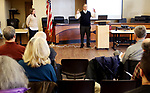 TORRINGTON CT. 18 December 2017-011818SV03-Jessica LeClair, Energy Technical Specialist, with Sustainable CT, a new statewide initiative to support Connecticut&rsquo;s cities and towns listens to Ted Shafer, first selectman of Burlington, speak during a regional launch event in Torrington Thursday. Shafer will be on a newly forming board of directors for Sustainable CT.<br /> Steven Valenti Republican-American