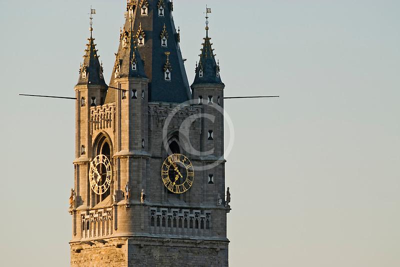 Belgium, Ghent, Belfry tower closeup