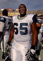 Nov. 6, 2005; Tempe, AZ, USA; Center (65) Chris Spencer of the Seattle Seahawks against the Arizona Cardinals at Sun Devil Stadium. Mandatory Credit: Mark J. Rebilas