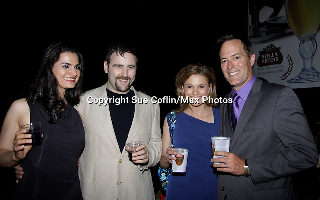 Dylan Bank (director Rock Story) and girlfriend Aurora with Mandy Bruno and Robert Bogue at Gala Awards Night - Closing Night - Hoboken International Film Festival held June 5, 2014 at the Paramount Theatre, Middletown, New York. (Sue Coflin/Max Photos)