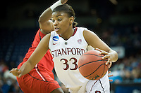 SPOKANE, WA - MARCH 30, 2013: Amber Orrange drives for two during the third round NCAA Championships game matching Stanford vs Georgia at the Spokane Arena. The Cardinal fell to the Bulldogs 61-59.