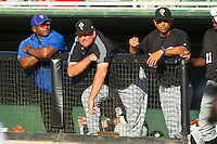 Savannah Sand Gnats pitching coach Frank Viola (center) and manager Luis Rojas (right) watch the action from the top of the dugout during the South Atlantic League game against the Kannapolis Intimidators at CMC-Northeast Stadium on May 30, 2013 in Kannapolis, North Carolina. The Sand Gnats defeated the Intimidators 8-2 in the completion of a game that was suspended on May 3, 2013 in Savannah, Georgia.   (Brian Westerholt/Four Seam Images)