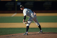 Wake Forest Demon Deacons relief pitcher Griffin Roberts (43) looks to his catcher for the sign against the Richmond Spiders at David F. Couch Ballpark on March 6, 2016 in Winston-Salem, North Carolina.  The Demon Deacons defeated the Spiders 17-4.  (Brian Westerholt/Four Seam Images)
