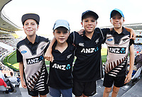 Young fans and supporters.<br /> New Zealand Blackcaps v England. 1st day/night test match. Eden Park, Auckland, New Zealand. Day 1, Thursday 22 March 2018. &copy; Copyright Photo: Andrew Cornaga / www.Photosport.nz