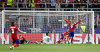 Calcio, finale di Champions League: Real Madrid vs Atletico Madrid. Stadio San Siro, Milano, 28 maggio 2016.<br /> Atletico Madrid Yannick Carrasco, second from right, scores during the Champions League final match between Real Madrid and Atletico Madrid, at Milan's San Siro stadium, 28 May 2016.<br /> UPDATE IMAGES PRESS/Isabella Bonotto