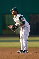 Second baseman Jeudy Valdez #12 of the Fort Wayne Tin Caps on defense versus the Dayton Dragons at Parkview Field April 16, 2009 in Fort Wayne, Indiana. (Photo by Brian Westerholt / Four Seam Images)