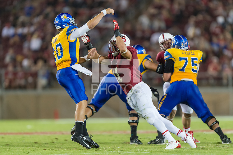 STANFORD, CA - SEPTEMBER 7, 2013: Shayne Skov during Stanford's game against San Jose State. The Cardinal defeated the Spartans 34-13.