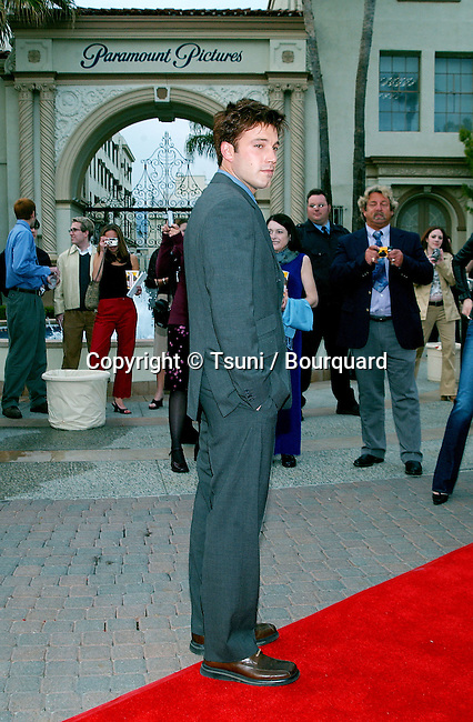 "Ben Affleck arriving at the premiere of "" Changing Lanes"" on the Paramount Lot Theatre in Los Angeles. April 7, 2002."