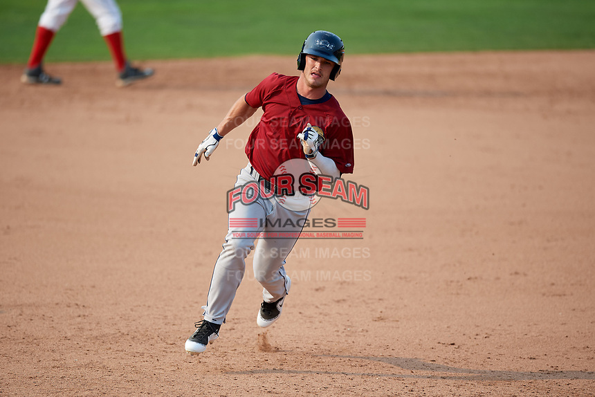 Mahoning Valley Scrappers center fielder Clark Scolamiero (27) runs the bases during the second game of a doubleheader against the Batavia Muckdogs on September 4, 2017 at Dwyer Stadium in Batavia, New York.  Mahoning Valley defeated Batavia 6-2.  (Mike Janes/Four Seam Images)