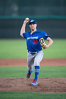 Ogden Raptors starting pitcher Brett de Geus (36) delivers a pitch during a Pioneer League game against the Orem Owlz at Home of the OWLZ on August 24, 2018 in Orem, Utah. The Ogden Raptors defeated the Orem Owlz by a score of 13-5. (Zachary Lucy/Four Seam Images)