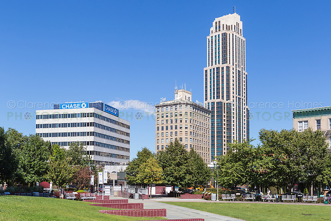 A view of the skyline of New Rochelle, New York from Ruby Dee Park on Library Green.