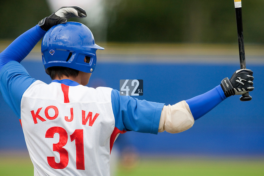 14 September 2009: Jong-Wook Ko of South Korea waits in the batter box during the 2009 Baseball World Cup Group F second round match game won 15-5 by South Korea over Great Britain, in the Dutch city of Amsterdan, Netherlands.