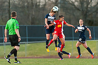 Sky Blue FC midfielder Sophie Schmidt (16) heads the ball. Sky Blue FC defeated the Western New York Flash 1-0 during a National Women's Soccer League (NWSL) match at Yurcak Field in Piscataway, NJ, on April 14, 2013.