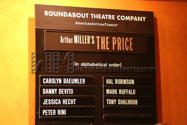 Lobby cast board for Danny DeVito, Jessica Hecht, Mark Ruffalo and Tony Shalhoub during Broadway Opening Night performance for the Roundabout Theatre Production of 'The Price' at the American Airlines TheatreTheatre on March 16, 2017 in New York City.