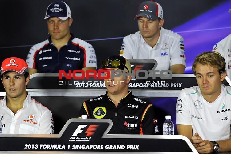 19.-22.09.2013, Marina-Bay-Street-Circuit, Singapur, SIN, F1, Grosser Preis von Singapur, Singapur, Sergio Perez (MEX)  McLaren F1 Team  - Valtteri Bottas (FIN), Williams F1 Team - Kimi Raikkonen (FIN), Lotus Renault F1 Team - Nico Huelkenberg (GER), Sauber F1 Team - Nico Rosberg (GER), Mercedes GP <br />  Foto &copy; nph / Mathis