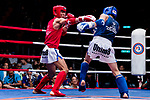 Lan Zhouyon (Red) of China fights against Bayadaa Mendbayar (Blue) of Mongolia in the male muay 60KG division weight bout during the East Asian Muaythai Championships 2017 at the Queen Elizabeth Stadium on 12 August 2017, in Hong Kong, China. Photo by Yu Chun Christopher Wong / Power Sport Images