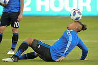 San Jose, CA - Saturday April 14, 2018: Quincy Amarikwa prior to a Major League Soccer (MLS) match between the San Jose Earthquakes and the Houston Dynamo at Avaya Stadium.