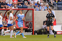 Bridgeview, IL - Saturday June 18, 2016: Sofia Huerta, Referee Danielle Brzezinski-Chesky during a regular season National Women's Soccer League (NWSL) match between the Chicago Red Stars and the Boston Breakers at Toyota Park.
