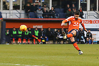 Alan Sheehan of Luton Town scores the opening goal of the game during the Sky Bet League 2 match between Luton Town and Barnet at Kenilworth Road, Luton, England on 31 December 2016. Photo by David Horn.